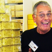 Dr. Ron Wolfe brightens up as a tour stops at a Russell Stover candy shop