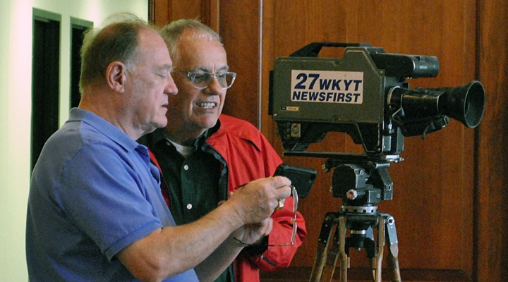 Glen Kleine & Ron Wolfe at EKURA tour of WKYT-TV